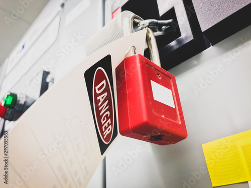 Lockout-tagout, safety lockout of the electric Motor Feeder breaker at MCC