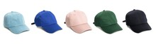 Set Of Baseball Cap Or Working Peaked Cap. Isolated On A White Background.