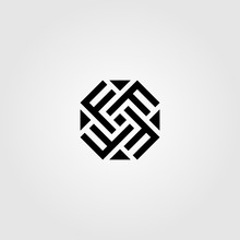 Initial Letter F Octagon Logo Design Vector Icon Illustration