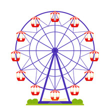 Ferris Wheel. Vector. Amusement Park Carousel Isolated. Big Fun Fair Round. Carnival Entertainment Ride. Observation Cabin. Cartoon Colorful Illustration. Circus Red Purple Attraction In Flat Design.