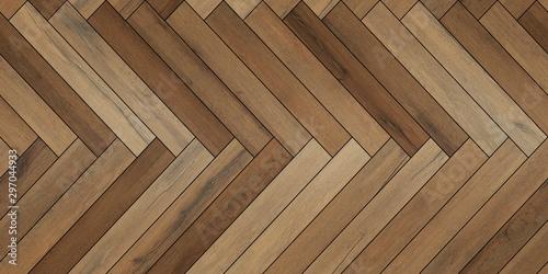 Obraz Seamless wood parquet texture horizontal herringbone various brown - fototapety do salonu
