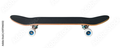 Side view of skateboard isolated on white. Extreme sport equipment