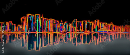 Foto  Panoramic view of futuristic urban skyline with illuminated skyscrappers