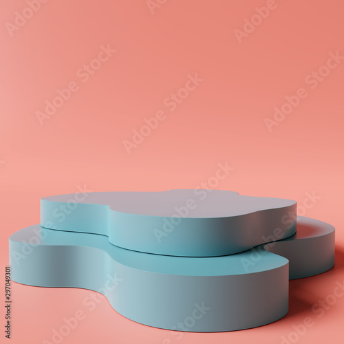Leinwand Poster Abstract podium on coral color background. 3d rendering