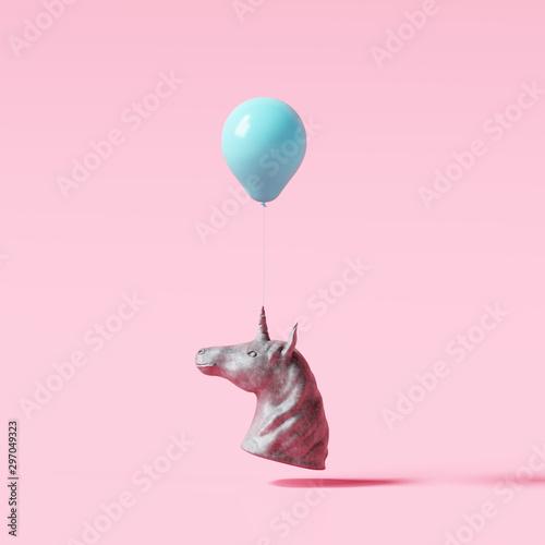 Montage in der Fensternische Rosa hell Concrete unicorn statue with blue balloon on pastel pink background. Creative idea. Minimal concept. 3d rendering