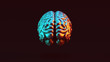 canvas print picture - Silver Human brain Anatomical with Red Orange and Blue Green Moody 80s lighting Rear View 3d illustration 3d render