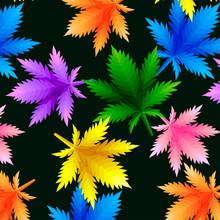 Abstract Pattern From Marijuana Cannabis On Rastafarian Background Colors. Vector Illustration.