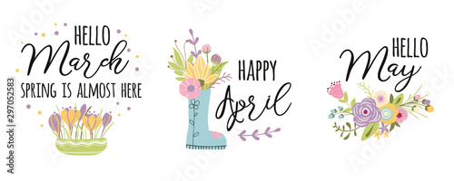 March, April, May typography spring quotes Cute words decorated hand drawn cute Canvas Print