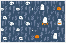 Cute Hand Drawn Halloween Vector Patterns. Little White Ghost,Sweet Little Pumpkins And White Funny Skulls On A Blue Background. Dark Scary Garden.Halloween Illustrations For Card, Party Decoration.