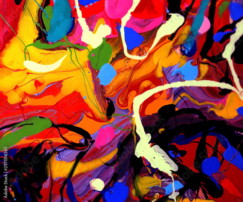 Photo  Hand draw colorful painting abstract background with texture.