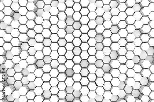 Cells concept white abstract background 3D illustration - 297057105