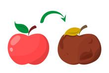 Bad Rotten Apple. Red Fresh Fr...