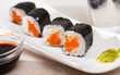 Sushi maki set with salmon