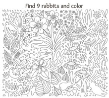 Vector Line Art Illustration Of Rabbits Among Flowers And Plants. Coloring Page With Animals. Find Hares And Color Activity..