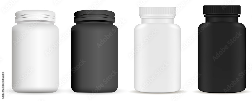 Fototapeta Medicine pill bottle. Vitamin package mockup. Plastic supplement jar 3d vector blank. Pharmaceutical product container isolated on backaground. Pharmacy remedy pack. Realistic vertical drug set