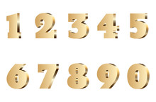 3d Gold Number Set. Isolated G...