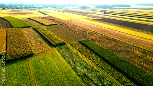 Leinwand Poster Colorful Farmland and Scenic Countryside. Aerial Drone view