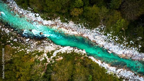 Fototapeta Turquoise Emerald Soca River in Soca Valley,Slovenia. Top Down Drone View obraz
