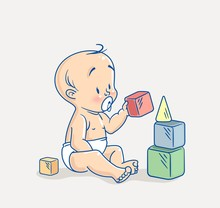 Cute Little Baby Sitting On Floor And Building Tower Of Colorful Cubes Toy. Cartoon Vector Illustration