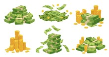 Cartoon Money And Coins. Green...
