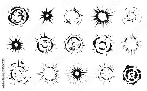 Obraz Radial explosion silhouette. Exploding bursts, round explosions cloud and exploded bomb effect black silhouettes. Explosion burst dust, power bombs explode effect. Isolated symbols graphic vector set - fototapety do salonu