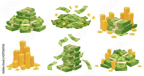 Fototapeta Cartoon money and coins. Green dollar banknotes pile, golden coin and rich. Bank debt bill investment, earnings treasure or jackpot money capital. Isolated vector illustration icons set obraz