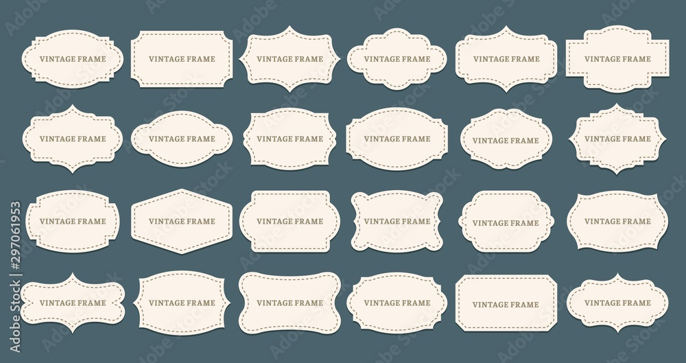 Fototapeta Vintage label frames. Old frame shapes, decorative label and retro shape. Luxury premium tag, elegant sticker sign or royal wedding logo. Isolated vector symbols set