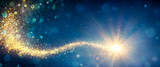 Magic Christmas Star In Shiny Night - Defocus Star-trail