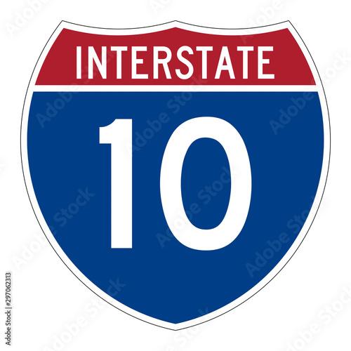 Fotomural Interstate highway 10 road sign