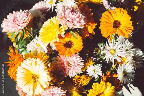 Fototapety, obrazy: Bright bouquet with orange autumn flowers