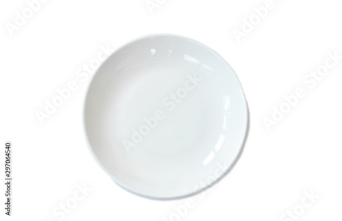 Photo  top view of ceramic dish arranging on white background