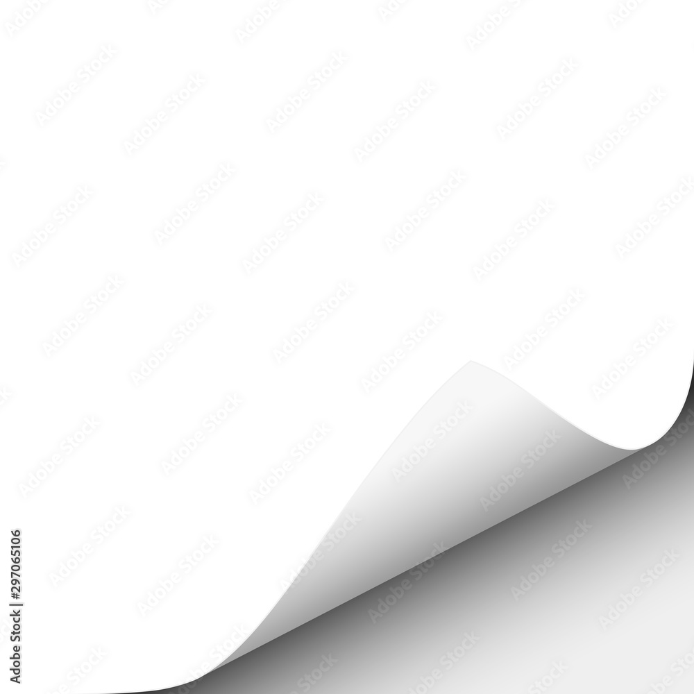 Fototapety, obrazy: Vector lower right curl of corner of white sheet of paper.