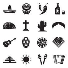 Mexican Culture Icons. Black F...