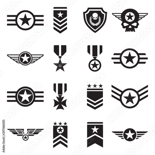 Photo  Military Badges Icons. Black Flat Design. Vector Illustration.
