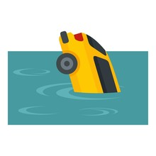 Yellow Car Flood Icon. Flat Il...