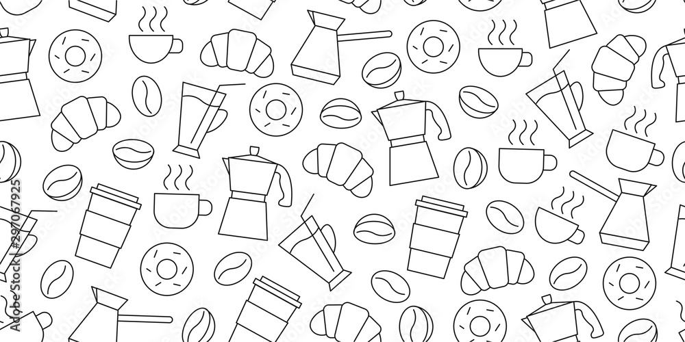 Shopping seamless pattern of line icons of coffee beans, cups, donuts, croissants, Cezve, coffee to go, package or fabric cover <span>plik: #297067925 | autor: marynaionova</span>