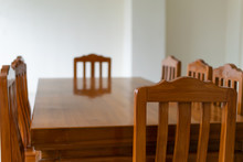A Empty Dining Wooden Table An...