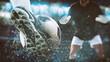Leinwandbild Motiv Football scene at night match with close up of a soccer shoe hitting the ball with power