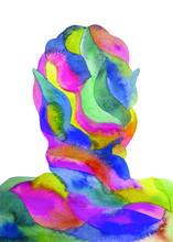 Disegno Grafico Yoga Meditazione. Salute Mentale.