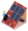 Vector isometric solar panel installation