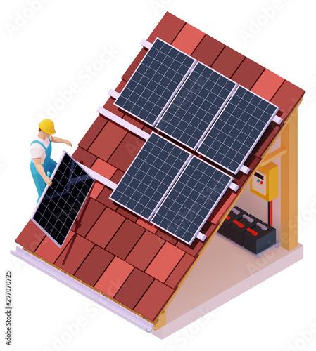 Obraz Vector isometric solar panel installation - fototapety do salonu