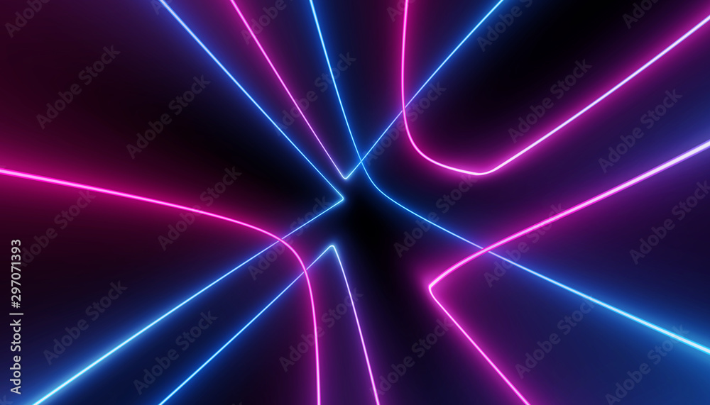 Fototapety, obrazy: neon blue pink abstract futuristic galaxy ultraviolet curvy glowing dna neuron lines laser scientific Sci-Fi high resolution abstract black background mobile apps web and social media posts