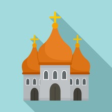 Christian Cathedral Icon. Flat...