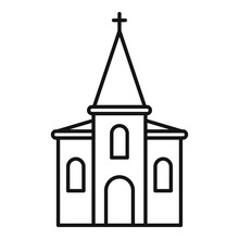 Christian Church Icon. Outline Christian Church Vector Icon For Web Design Isolated On White Background
