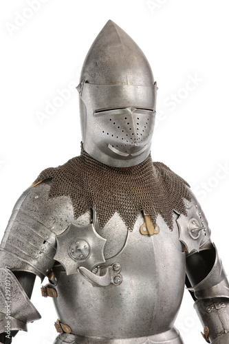 Papel de parede three quarter view of knight in armour isolated on white