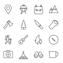 Hiking And Camping Set Icon Template Color Editable. Camping Pack Symbol Vector Sign Isolated On White Background Illustration For Graphic And Web Design.