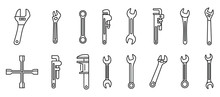 Garage Wrench Icons Set. Outli...