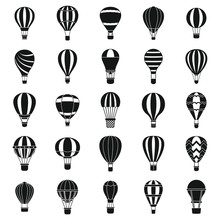 Hot Air Balloon Icons Set. Sim...