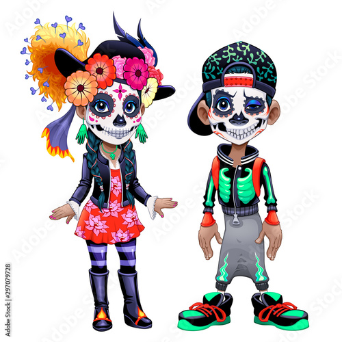Characters celebrating the Mexican Halloween called Los Dias de Los Muertos