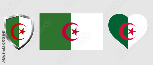 Set of Algeria flag on isolated background vector illustration Canvas Print